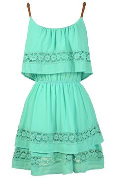 Lazy Daisy Tiered Dress in Mint  www.lilyboutique.com
