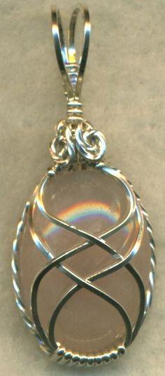 Rose Quartz Silver Wire Wrap Pendant