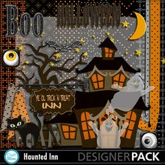 Check this awesome Halloween kit out! #CraftBlissDesigns @MyMemories.com #Digital #Craft #scrapbooking #Halloween #Haunted Inn