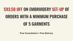 **Special Offer**    Get free #embroidery set up worth $93.50 on purchase of 5 clothing. Request for a free quote today!  #embroideryserviceadelaide
