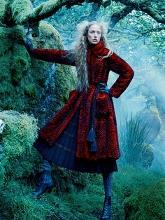 Into The Woods: Raquel Zimmermann by Mikael Jansson for Vogue US September 2015 - #EmporioArmani Fall 2015 mink coat, Marc Jacobs Fall 2015 skirt