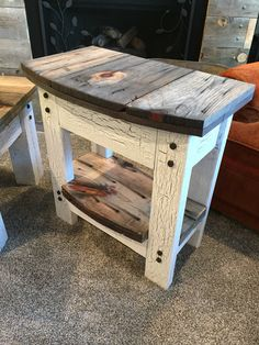From giant wooden spool to two end tables and a coffee table.