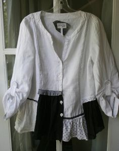 Upcycled Linen Shabby Shirt Lagenlook Blouse
