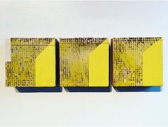 """Triptych (shadows) - encaustic on adobe tiles, 6x19x1.5"""". New piece from my solo exhibition at the Hutchinson Center for the Arts on view through December 31st. • See this Instagram photo by Jamie Lang (@langco) •"""