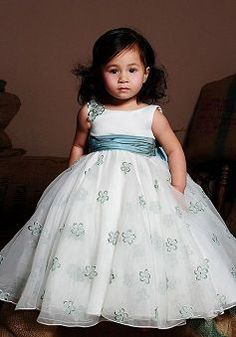 Dramatic Satin Bateau Ball Gown Empire Flower Girl Dress With Embroidery - 1300255043B - US$106.29 - BellasDress