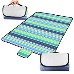 """BIAL-otd 60"""" x 51"""" Outdoor Camping Picnic Blanket Oversized Mat Beach Blanket with Handles. Foldable with handle, space saving and easy to transport. Fold out Size: 60 x 51in (150x130cm), Folded Size: 10.2 x 6.3x 1.2in (26x16x3cm). Material: waterproof wear-resisting 600 d Oxford cloth. The fabric waterproof glue, can waterproof, scrub resistance, waterproof glue Can on the ground, grass, sand, Unfolds is a leisure mat, folding is a laptop bag. Great for picnics, tailgating..."""