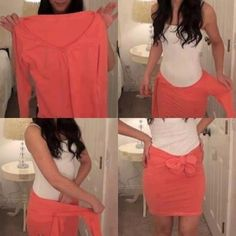 DIY Shirt to skirt... How cute and simple