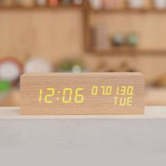 [Mooas] LED Wooden Alarm Clock Time Date Real Wood Gift (Rectangular Type)