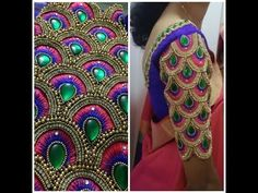 Most Beautiful Overall Design with Normal Stitching Needle- Same Like Aari/Maggam work on Blouse Wedding Saree Blouse Designs, Blouse Designs Silk, Designer Blouse Patterns, Saree Wedding, Gold Wedding, Wedding Dresses, Hand Work Design, Hand Work Blouse Design, Aari Work Blouse