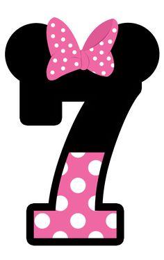 Números Minnie. Siete. 7.