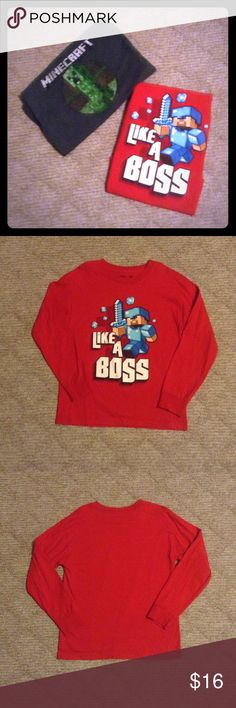Minecraft long sleeve tops Minecraft long sleeve tops. Red top has Steve character and gray top has Creeper character. Both tops are 100% cotton and are size YM (youth medium). Great condition. Price is for the pair. Shirts & Tops Tees - Long Sleeve