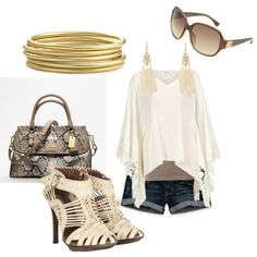beach outfit, created by ciannabarker on Polyvore