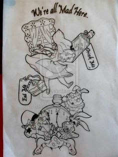Alice in Wonderland Sleeve idea i been drawing while Im dying in bed . Stuck on the backround tho prob be the rabbit hole Browns twisting etc . Alice in wonderland sleeve tat Alice In Wonderland Tattoo Sleeve, Alice In Wonderland Drawings, Wonderland Alice, Disney Tattoos, Cat Tattoo, Tattoo Drawings, Sketch Tattoo, Manga Disney, Alice Tattoo