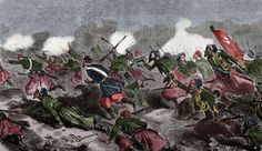 Second Italian War of Independence. Battle of Turbigo, 3 june 1859. Franco-Piedmontese troops crossed the Ticino. Engraving by Dumont. El Album de las Familias, 1859. Colored.