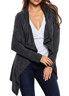 V Neck Loose Knit Sweater | Grey cardigan, Gray and Clothing