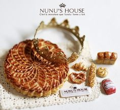 """Galette de rois and pastries"". Great works by NuNu's House Miniatures."
