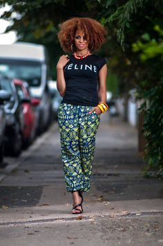 tribal-trousers_black-t-shirt_.3 peeks, zanjoo, zanjoostore, black slogan t-shirt, afro hair, natural hair, curly hair, black heels, accessories, black girls