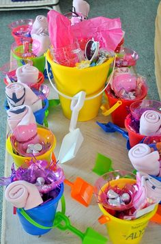 Perfect for my beach bachelorette party! Put favors in the pail and use as a mini cooler for bottles n drinks later - Wedding-Day-Bliss