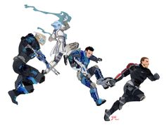 Papercraft commission of Garrus, Liara, Kaidan and Shepard from Mass Effect! I got to go all-out on their armor and weapons - soooo many tiny pieces! - which was challenging but very satisfying. *laser gun noises*