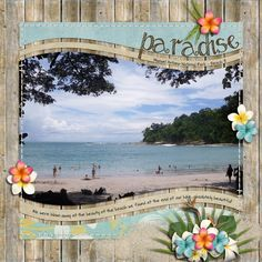 "Layout: Paradise by Dolores Template: Wavy Templates 2 Reasons CTM Loves: ""Love the gorgeous photo, the beach elements are perfect! Love the added stitched border too! Cruise Scrapbook Pages, Beach Scrapbook Layouts, Vacation Scrapbook, Scrapbook Sketches, Scrapbook Paper Crafts, Scrapbooking Layouts, Scrapbook Cards, Scrapbook Albums, Birthday Scrapbook"