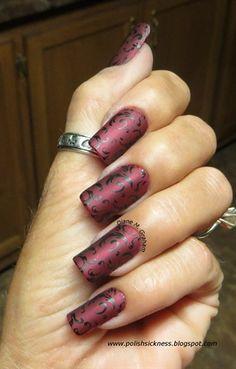 burgandy matte stamped by DianeGraham - Nail Art Gallery nailartgallery.nailsmag.com by Nails Magazine www.nailsmag.com #nailart