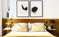 Mid Century Bedroom Furniture for Sale, Mid Century Modern Bedroom Decorating Ideas, Mid Century Bedroom Decorating Ideas, Modern Headboard, Modern Bedroom Decor, Contemporary Bedroom, Home Bedroom, Velvet Headboard, Headboard Ideas, Yellow Headboard, Bedroom Yellow, Bedroom Ideas