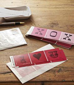Cute way to repurpose (I love cheap!) paint chip cards into Valentine cards/bookmarks. Run them through a printer or use stamps
