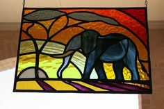 elephant stained glass panel.