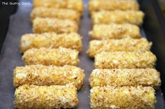 Homemade baked mozzarella sticks from string cheese: bread then freeze then bake. Trying this!