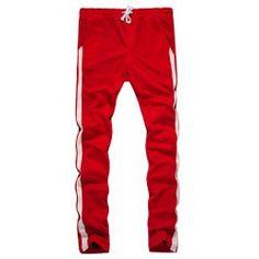 Drawstring Side Stripe Design Sweatpants - Red L Regular Straight