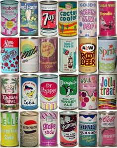 Vintage Soda cans. The same brands have changed lots over time.