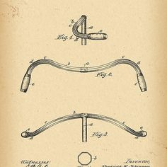 1897 Patent Velocipede handle bar Bicycle history invention