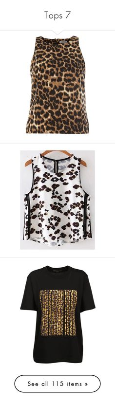 """Tops 7"" by rainylilies ❤ liked on Polyvore featuring tops, tanks, brown, leopard print tank, leopard print sleeveless top, leopard print tops, brown tank top, brown top, white tops and leopard print tank top"