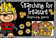 Searching for Treasure - Rhyming Game Rhyming Word Game, Rhyming Activities, Literacy Games, Rhyming Pictures, Bingo Board, Little Learners, Face Down, Phonemic Awareness, Searching