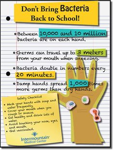 Don't bring bacteria back to school! Here are some tips to keep your child healthy at school.