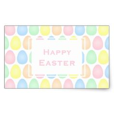Happy Easter | Pastel Colors Easter Eggs Pattern Rectangular Sticker - happy easter egg holiday family diy custom personalize