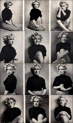 A collage of Ms Marilyn Monroe images. Acting. Emotions. Facial expressions.