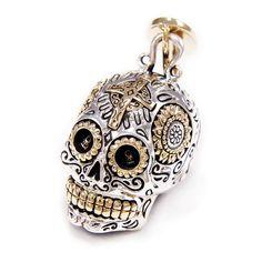 Santa Muerte/Sugar Skull/925 Sterling Silver Pendant/Cross Pendant/Silver Skull Pendant/Skull Silver Pendant/Necklace/Skull Charm gb-113 Skull Necklace, Silver Pendant Necklace, Sterling Silver Pendants, Pendant Jewelry, Gothic Rings, Gothic Jewelry, Skull Pendant, Cross Pendant, Silver Skull Ring
