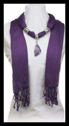 Our scarves blend fashion and jewelry all together in one package. This Plum scarf is embellished with a Regalite pendant of complimentary colors and silver beads that can be moved around for just the right look for you. Scarf Necklace, Fabric Necklace, Scarf Jewelry, Fabric Jewelry, Beaded Jewelry, Jewellery, Diy Scarf, Bijoux Diy, Scarf Styles