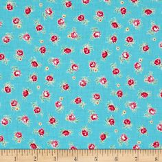 Designed by Lecien, this cotton print fabric is perfect for quilting, apparel and home decor accents. Colors include turquoise, shades of pink, green, white and yellow.