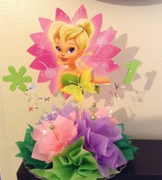 Shelly's Decor For You Birthday Party Centerpieces, Fairy Birthday Party, 4th Birthday Parties, Tinkerbell Party Theme, Tinkerbell Fairies, Tinker Bell, Fairy Baby Showers, Diy Party Crafts, Princess Party