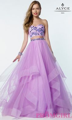 Two Piece Ball Gown Style Strapless Prom Dress
