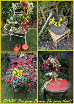 I love to decorate chairs! www.facebook.com/DerGruneDaumenTheGreenThumb?fref=ts