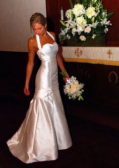 RealBride wearing a classic and simple heidi elnora wedding dress