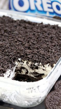 Easy Frozen Oreo Dessert This Easy Frozen Oreo Dessert is light, frozen summer dessert… so easy to prepare – just perfect for Oreo cookie fans. One of my favorite frozen desserts. Desserts This Easy Frozen Oreo Dessert is light, frozen summer dessert Quick Dessert Recipes, Sweet Recipes, Baking Recipes, Pie Recipes, Cream Recipes, Recipes Dinner, Easy Desert Recipes, Family Recipes, No Bake Recipes