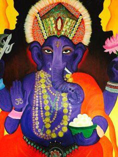 Ganesh original painting #ganesh #purple for sale http://pages.ebay.com/link/?nav=item.view&alt=web&id=201453103902&globalID=EBAY-US