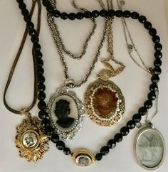Faux CAMEO Necklace Jewelry Lot COSTUME Intaglio Vintage Whiting Davis & More by jewelryannie on Etsy