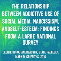 The relationship between #addictive use of social media, #narcissism, and #self-esteem: Findings from a large national survey - Cecilie Schou Andreassen, Ståle Pallesen, Mark D. Griffiths, 2016 | Social media applications may serve as ideal social arenas for individuals who appreciate and are attracted to engaging in #ego-enhancing activities, as they enable individuals to bolster their #egos on the basis of instant feedback from potentially large numbers
