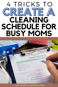 As a mom, we're constantly pulled in so many directions. However, it's still important to make sure that we help keep our house clean for our families. Check out these 4 tricks to create a cleaning schedule for busy moms to help keep you from the overwhelm. #clean #cleaning #momlife #schedule Weekly Cleaning Plan, Daily Cleaning, Spring Cleaning, Washing Dishes, Write It Down, Lists To Make, Make It Work, Life Organization, Clean House