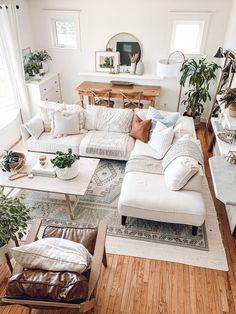 Boho Chic Living Room, Cozy Living Rooms, Living Room Modern, Apartment Living, Living Room Designs, Living Room Decor, Small Living, Living Room Inspiration, Home Decor Inspiration